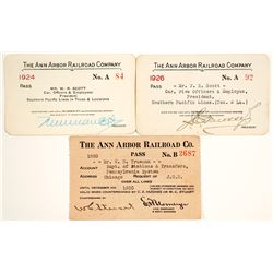 Three Ann Arbor Railroad Company Passes (1920-1926)