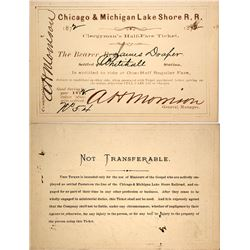 Chicago & Michigan Lake Shore Railroad Clergyman's Pass, 1872