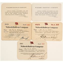 Five Wabash Railway Company Passes