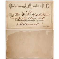 Vicksburg and Meridian Railroad Company Pass, 1873