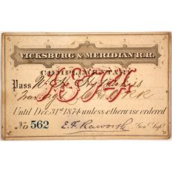 Vicksburg and Meridian Railroad Company Pass, 1874