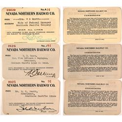 Three Nevada Northern Railway Company Passes