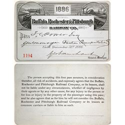 Buffalo, Rochester & Pittsburgh Railway Co. Pass, 1886, Issued to Montana Indian Trader