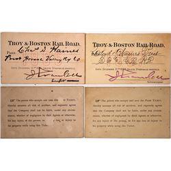 Two 1880s Troy & Boston Railroad Passes