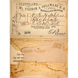 Cleveland, Mt. Vernon & Delaware Railroad Pass, 1876