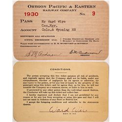 Oregon Pacific & Eastern Railway Co. Pass, 1930