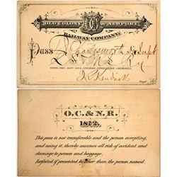 Old Colony & Newport Railway Company Pass, 1872