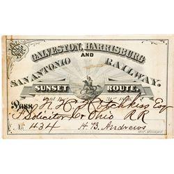 Galveston, Harrisburg and San Antonio Railway Pass