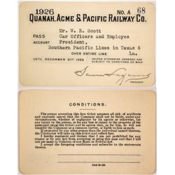 Quanah, Acme & Pacific Railway Company Pass, 1926