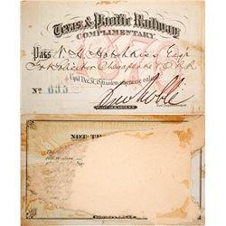 Texas & Pacific Railway Annual Pass (1876)