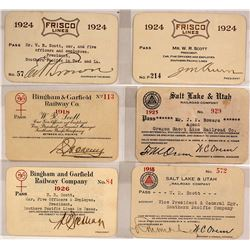 Six Utah Railroad Passes