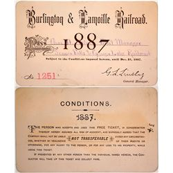 Burlington & Lamoille Railroad Pass, 1887