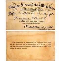 Orange, Alexandria & Manassas Railroad Co. Pass, 1869