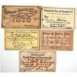 1870s Richmond, Virginia Railroad Pass Collection