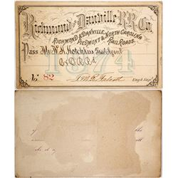 Richmond & Danville Railroad Company Pass, 1874