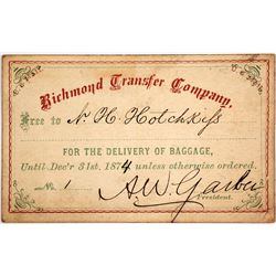 Richmond Transfer Company Pass, 1874, No. 1