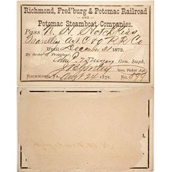 Richmond, Fredricksburg & Potomac Railroad and Steamer Pass, 1872