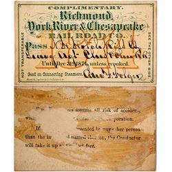 Richmond, York River & Chesapeake Railroad Co. Pass, 1874