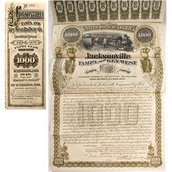 Jacksonville, Tampa, & Key West Railway Co. Bond, 1890