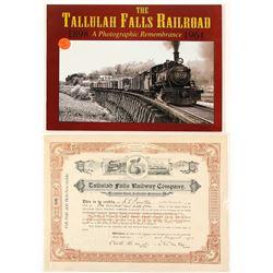 Tallulah Falls Railway Co. Stock Certificate & Book