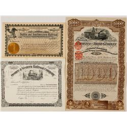 Three Georgia Railroad Stocks and Bonds