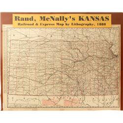 Kansas Railroad & Express Map, 1888, Rand McNally