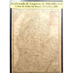 Map of Railroads & Express in Michigan, 1895
