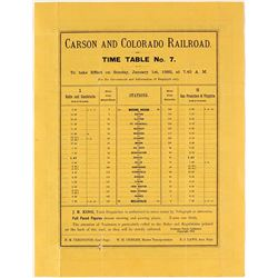 Carson & Colorado Railroad Timetable 1882, Reprint
