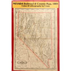 Nevada Railroad & County Map, 1881