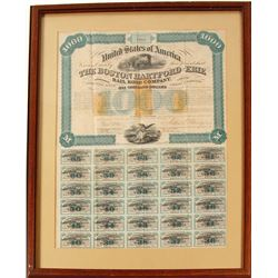 Framed Boston Hartford & Erie RR Bond with RNs