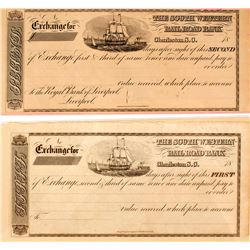 Set of First and Second of Exchanges; South Western Railroad Bank