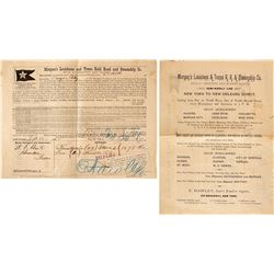Morgan's Louisiana & Texas RR and Steamship Broadside and Bill of Sale