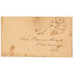 1862 'Due 10' Atlanta Cover to Dahlonega, Georgia