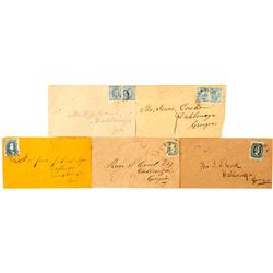 Five Confederate Stamped Envelopes