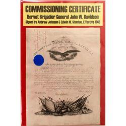 Commissioning Certificate of Brigadier General John W. Davidson