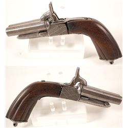 Double barrel pin-fire derringer .44 caliber