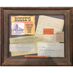 Framed Bodie Stagecoach Ephemera Display