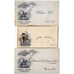 Three Commandery Cards from Bodie (one in gold edging)