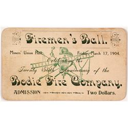 1904 Fireman's Ball Admission Ticket