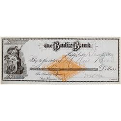 Very Rare Blue Bodie Bank Revenue Check, 1880
