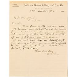 Bodie and Benton Railway Letter