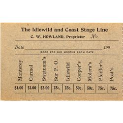 Very Rare Idlewild and Coast Stage Line Trip Ticket
