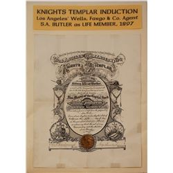 Certificate of Knights Templar Induction