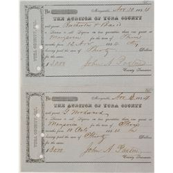 Two 1854 Marysville Liquor and Billiards Licenses.