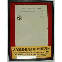 Zamorano Press 1843 Letterhead