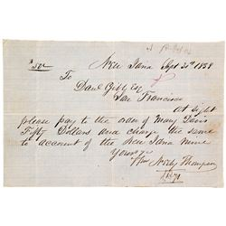 1858 New Idria note from noted California 49er