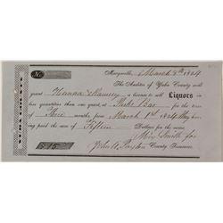 1854 Liquor License for Hanna & framsey of Parks Bar