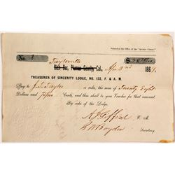 Rich Bar Certificate #8 from the F&AM in 1869