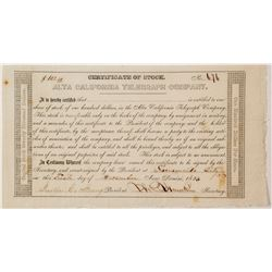 Alta California Telegraph Company 1853 Stock Certificate
