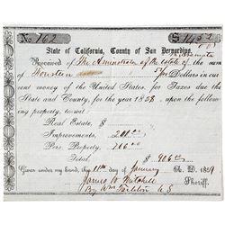 Tax bill for the estate of Aramata, 1858